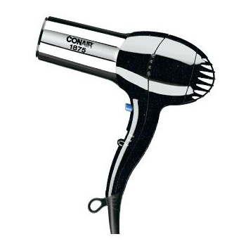 Conair 1875-Watt Ionic Turbo Hair Dryer, Black/Chrome