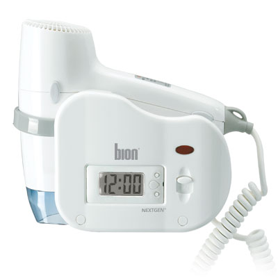 Bion Digital Clock Wall Mount Hair Dryer